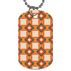 Flowers And Squares Pattern     			dog Tag (one Side) by LalyLauraFLM