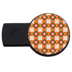 Flowers And Squares Pattern     			usb Flash Drive Round (4 Gb) by LalyLauraFLM