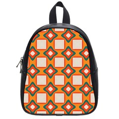 Flowers And Squares Pattern     			school Bag (small) by LalyLauraFLM