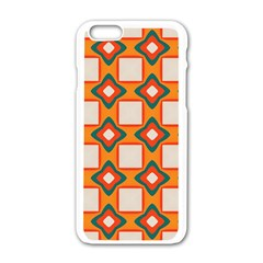 Flowers And Squares Pattern     apple Iphone 6/6s White Enamel Case by LalyLauraFLM