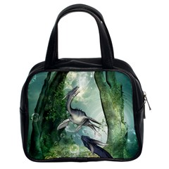 Awesome Seadraon In A Fantasy World With Bubbles Classic Handbags (2 Sides) by FantasyWorld7