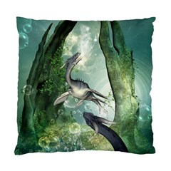 Awesome Seadraon In A Fantasy World With Bubbles Standard Cushion Case (two Sides) by FantasyWorld7