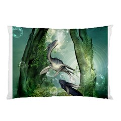 Awesome Seadraon In A Fantasy World With Bubbles Pillow Case by FantasyWorld7