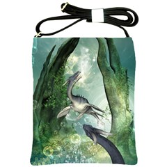 Awesome Seadraon In A Fantasy World With Bubbles Shoulder Sling Bags by FantasyWorld7