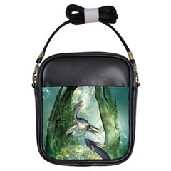 Awesome Seadraon In A Fantasy World With Bubbles Girls Sling Bags by FantasyWorld7