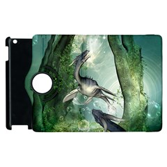 Awesome Seadraon In A Fantasy World With Bubbles Apple Ipad 3/4 Flip 360 Case by FantasyWorld7