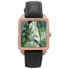 Awesome Seadraon In A Fantasy World With Bubbles Rose Gold Leather Watch  by FantasyWorld7