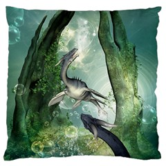 Awesome Seadraon In A Fantasy World With Bubbles Standard Flano Cushion Case (One Side) by FantasyWorld7
