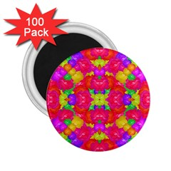 Multicolor Floral Check 2 25  Magnets (100 Pack)  by dflcprints