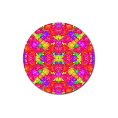 Multicolor Floral Check Magnet 3  (round) by dflcprints