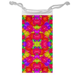 Multicolor Floral Check Jewelry Bags by dflcprints