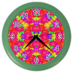Multicolor Floral Check Color Wall Clocks by dflcprints