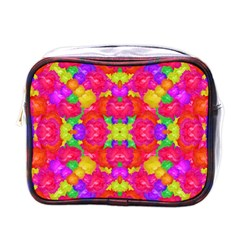 Multicolor Floral Check Mini Toiletries Bags by dflcprints