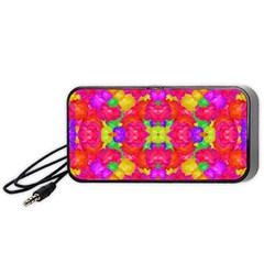 Multicolor Floral Check Portable Speaker (black)  by dflcprints