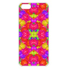 Multicolor Floral Check Apple Iphone 5 Seamless Case (white) by dflcprints