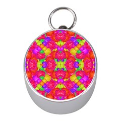 Multicolor Floral Check Mini Silver Compasses by dflcprints