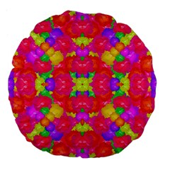 Multicolor Floral Check Large 18  Premium Flano Round Cushions by dflcprints