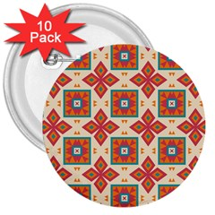 Floral Pattern  3  Button (10 Pack) by LalyLauraFLM