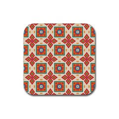Floral Pattern  rubber Square Coaster (4 Pack by LalyLauraFLM