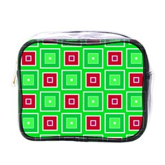 Green Red Squares Pattern    			mini Toiletries Bag (one Side) by LalyLauraFLM