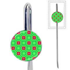 Green Red Squares Pattern    book Mark by LalyLauraFLM