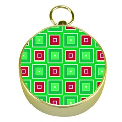 Green Red Squares Pattern    			gold Compass by LalyLauraFLM