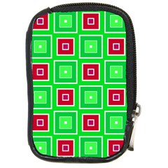 Green Red Squares Pattern    			compact Camera Leather Case by LalyLauraFLM