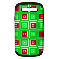 Green Red Squares Pattern    			samsung Galaxy S Iii Hardshell Case (pc+silicone) by LalyLauraFLM