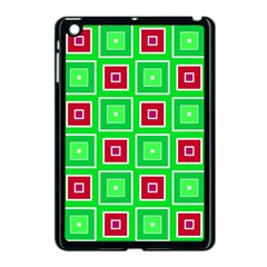 Green Red Squares Pattern    			apple Ipad Mini Case (black) by LalyLauraFLM