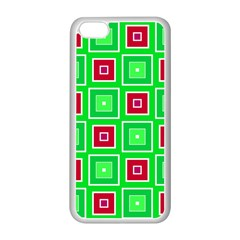 Green Red Squares Pattern    			apple Iphone 5c Seamless Case (white) by LalyLauraFLM