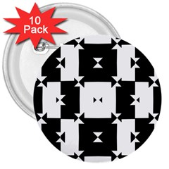 Black And White Check Pattern 3  Buttons (10 Pack)  by dflcprints