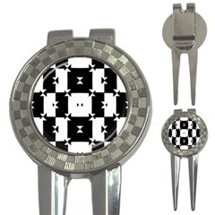 Black And White Check Pattern 3 In 1 Golf Divots by dflcprints