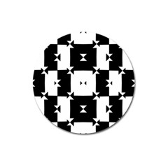 Black And White Check Pattern Magnet 3  (round) by dflcprints