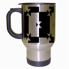 Black And White Check Pattern Travel Mug (silver Gray) by dflcprints