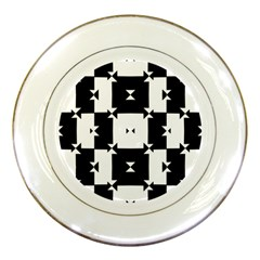 Black And White Check Pattern Porcelain Plates by dflcprints