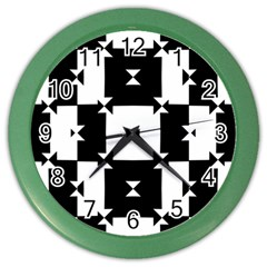 Black And White Check Pattern Color Wall Clocks by dflcprints