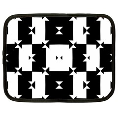 Black And White Check Pattern Netbook Case (large) by dflcprints