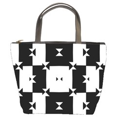 Black And White Check Pattern Bucket Bags by dflcprints