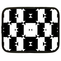Black And White Check Pattern Netbook Case (xl)  by dflcprints