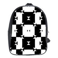 Black And White Check Pattern School Bags(large)  by dflcprints