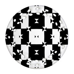 Black And White Check Pattern Round Filigree Ornament (2side) by dflcprints