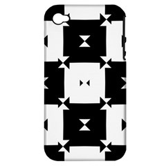 Black And White Check Pattern Apple Iphone 4/4s Hardshell Case (pc+silicone) by dflcprints