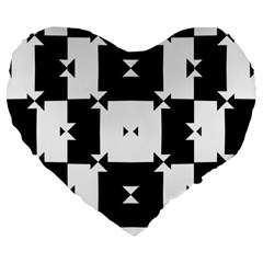 Black And White Check Pattern Large 19  Premium Flano Heart Shape Cushions by dflcprints