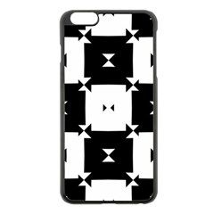 Black And White Check Pattern Apple Iphone 6 Plus/6s Plus Black Enamel Case by dflcprints
