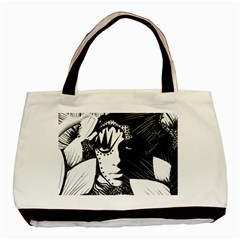 Mar Canvas Twin Sided Black Tote Bag by DryInk