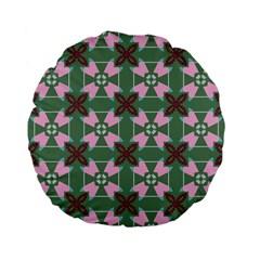 Pink Brown Flowers Pattern     standard 15  Premium Flano Round Cushion by LalyLauraFLM