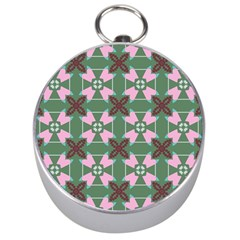 Pink Brown Flowers Pattern     Silver Compass by LalyLauraFLM