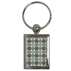 Pink Brown Flowers Pattern     			key Chain (rectangle) by LalyLauraFLM