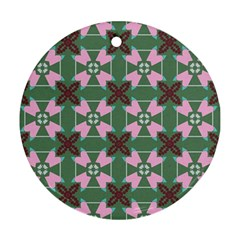 Pink Brown Flowers Pattern     ornament (round) by LalyLauraFLM