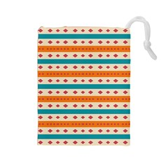 Rhombus And Stripes Pattern      Drawstring Pouch by LalyLauraFLM